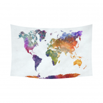 Interestprint Watercolor Colorful World Map Tapestry Horizontal Wall Hanging Abstract Splatters Painting Wall Decor Art for Living Room Bedroom Dorm Cotton Linen Decoration