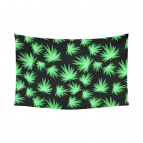 Interestprint Green Leaf Glow in the Dark Marijuana Tapestry Horizontal Wall Hanging Blacklight Pattern Repeat Wall Decor Art for Living Room Bedroom Dorm Cotton Linen Decoration