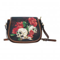 InterestPrint Day of the Dead Floral Skulls Messenger Crossbody Saddle Bag Purse