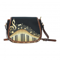 InterestPrint Black Piano Music Notes Messenger Crossbody Shoulder Saddle Bag Purse