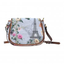 InterestPrint Flower Paris Eiffel Butterfly Messenger Crossbody Saddle Bag Purse