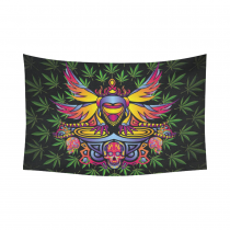 Interestprint Colorful Skull Green Marijuana Tapestry Horizontal Wall Hanging Psychedelic Party Wall Decor Art for Living Room Bedroom Dorm Cotton Linen Decoration
