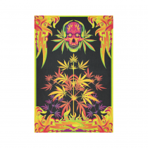 Interestprint Skull Leaves Plants Marijuana Tapestry Vertical Wall Hanging Colorful Psychedelic Wall Decor Art for Living Room Bedroom Dorm Cotton Linen Decoration
