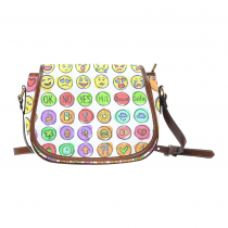 InterestPrint White Emoji Waterproof Fabric Messenger Crossbody Travel Saddle Bag Purse