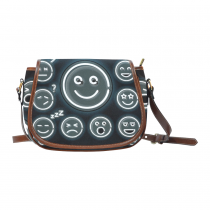 InterestPrint Black Emoji Face Waterproof Fabric Messenger Crossbody Saddle Bag Purse