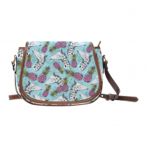 InterestPrint Pineapple Fruit Giraffe Blue Waterproof Fabric Messenger Crossbody Travel Saddle Bag Purse