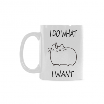 InterestPrint 11 Ounce White Ceramic I Do What I Want Cat Unicorn Funny Travel Coffee Mug Cup with Quotes Sayings, Unique Christmas Birthday Gifts for Men Women Mom Dad Him Her