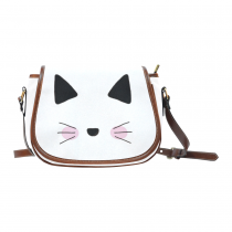 InterestPrint Hipster Cat White Messenger Crossbody Travel Shoulder Saddle Bag Purse