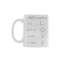 InterestPrint 11 Ounce White Ceramic Math Engineer Mug All You I Need is Love Funny Travel Coffee Mug Cup with Quotes Sayings, Unique Christmas Birthday Gifts for Men Women Mom Dad Him Her