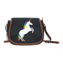 InterestPrint Cute Unicorn Black Waterproof Fabric Messenger Saddle Bag Purse