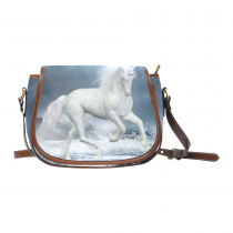 InterestPrint Ocean Unicorn White Waterproof Fabric Messenger Saddle Bag Purse