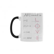 InterestPrint 11oz All I You Need is Love Math Morphing Mug Heat Sensitive Color Changing Coffee Mug Cup with Quotes, Unique Funny Birthday Christmas Gifts for Men Women Him Her Mom Dad