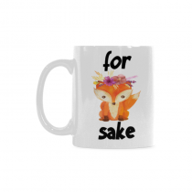 InterestPrint 11 Ounce White Ceramic Oh For Fox Sake Mug Funny Travel Coffee Mug Cup with Quotes Sayings, Unique Christmas Birthday Gifts for Men Women Mom Dad Him Her