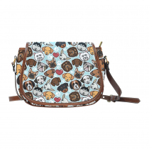 InterestPrint Paw Print Pug Puppy Dachshund Chihuahua Blue Messenger Saddle Bag Purse