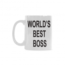 InterestPrint 11 Ounce White Ceramic World's Best Boss Mug Funny Travel Coffee Mug Cup with Quotes Sayings, Unique Christmas Birthday Gifts for Men Women Mom Dad Him Her Boss