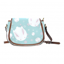 InterestPrint Cute Japanese Bunny Green Waterproof Fabric Messenger Saddle Bag Purse