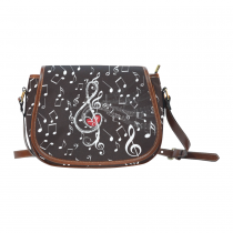 InterestPrint Music Notes Love Heart Waterproof Fabric Messenger Saddle Bag Purse