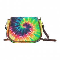 InterestPrint Trippy Tie Dye Women's Waterproof Fabric Messenger Saddle Bag Purse