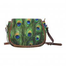 InterestPrint Fashion Feather of Peacock Green Women's Messenger Saddle Bag Purse
