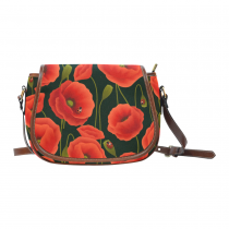 InterestPrint Romantic Poppy Ladybug Red Waterproof Fabric Messenger Saddle Bag Purse