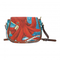 InterestPrint Red Octopus Kraken Women's Waterproof Fabric Messenger Saddle Bag Purse
