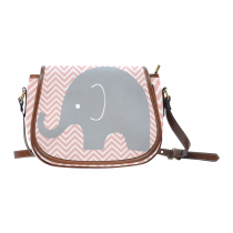 InterestPrint Elephant Chevron Striped Pink Waterproof Fabric Messenger Saddle Bag Purse