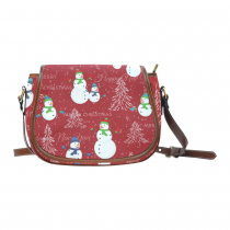InterestPrint Merry Christmas Tree Snowman Red Women's Messenger Saddle Bag Purse