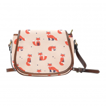 InterestPrint Cute Cartoon Fox Orange Waterproof Fabric Messenger Saddle Bag Purse