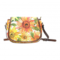 InterestPrint Watercolor Sunflower Yellow Women's Crossbody Saddle Bag Purse
