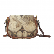 InterestPrint Old Vintage Map of the World Waterproof Fabric Messenger Saddle Bag Purse