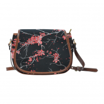 InterestPrint Black Cherry Tree Blossom Red Waterproof Fabric Messenger Saddle Bag Purse