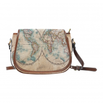 InterestPrint Vintage World Map Women's Waterproof Fabric Messenger Saddle Bag Purse