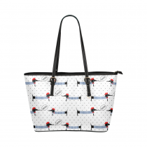 InterestPrint Dogs Dachshund Polka Dot Striped White PU Leather Shoulder Tote Bag Purse