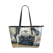 InterestPrint Cute Pug Puppy Dog Women's PU Leather Shoulder Tote Bag Purse