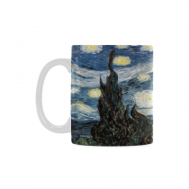 InterestPrint 11 Ounce White Ceramic Vincent Van Gogh Starry Night Funny Travel Coffee Mug Cup with Quotes Sayings, Unique Christmas Birthday Gifts for Men Women Mom Dad Him Her
