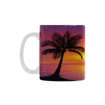 InterestPrint 11 Ounce White Ceramic Tropical Palm Tree Dolphin SunBeach Funny Travel Coffee Mug Cup with Quotes Sayings, Unique Christmas Birthday Gifts for Men Women Mom Dad Him Her
