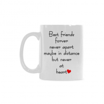 InterestPrint 11 Ounce White Ceramic Best Friends Long Distance Coffee Mug Cup with Quotes Sayings, Best Friends Forver Never Apart Coffee Mug Christmas Gifts for Men Women Mom Dad