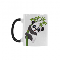 InterestPrint 11oz Cute Baby Panda Hanging on the Bamboo Morphing Mug Heat Sensitive Color Changing Coffee Mug Cup with Quotes, Unique Funny Birthday Christmas Gifts for Men Women Him Her Mom Dad