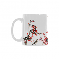 InterestPrint 11 Ounce Ceramic Theme of Nature Chinese Element Plum Blossom with Bird Funny Travel Coffee Mug Cup with Quotes Sayings, Unique Christmas Birthday Gifts for Men Women Mom Dad Him Her