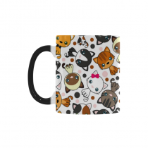 InterestPrint Funny Cute Cat Dog Lover Pug Puppy Morphing Mug Heat Sensitive Color Changing Coffee Mug Cup, Unique Funny Birthday Christmas Gifts for Men Women Him Her Mom Dad