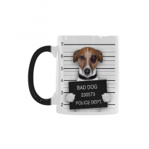 InterestPrint Funny Bad Dog Pug Dachshund In Mugshot Dog Lover Morphing Mug Heat Sensitive Color Changing Coffee Mug Cup, Funny Birthday Christmas Gifts for Men Women Him Her Mom Dad