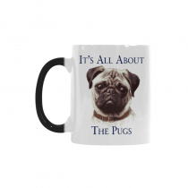 InterestPrint Cute Pug Dog Dog Lover Portrait It's All About The Pugs Morphing Mug Heat Sensitive Color Changing Coffee Mug Cup, Birthday Christmas Gifts for Men Women Him Her Mom Dad