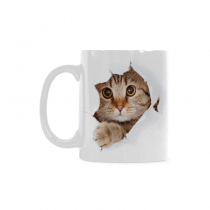 InterestPrint 11 Ounce White Ceramic Funny Cat Looking From The Inside I love My Cat Cat Lover Funny Travel Coffee Mug Cup, Christmas Birthday Gifts for Men Women Mom Dad Him Her