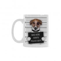 InterestPrint 11 Ounce White Ceramic Funny Bad Dog Pug Dachshund In Mugshot Dog Lover Funny Travel Coffee Mug Cup, Unique Christmas Birthday Gifts for Men Women Mom Dad Him Her