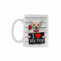InterestPrint 11 Ounce White Ceramic Chihuahua Pug Puppy Bad Dog In Mugshot I Lover My Dog Dog Lover Funny Travel Coffee Mug Cup, Christmas Birthday Gifts for Men Women Mom Dad Him Her
