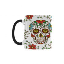 InterestPrint 11oz Sugar Skull Floral Flower Morphing Mug Heat Sensitive Color Changing Coffee Mug Cup with Quotes, Unique Funny Birthday Christmas Gifts for Men Women Him Her Mom Dad
