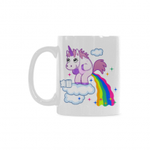 InterestPrint 11 Ounce White Ceramic Funny Unicorn Rainbow Horse Animal Funny Travel Coffee Mug Cup with Quotes Sayings, Unique Christmas Birthday Gifts for Men Women Mom Dad Him Her