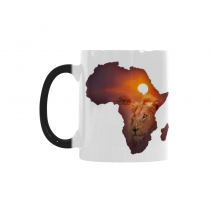 InterestPrint 11oz Africa Wildlife Map with Lion Morphing Mug Travel Heat Sensitive Color Changing Coffee Mug Cup with Quotes, Unique Funny Birthday Christmas Gifts for Men Women Him Her Mom Dad