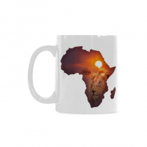 InterestPrint 11 Ounce White Ceramic Africa Wildlife Map Design with Lion Funny Travel Coffee Mug Cup with Quotes Sayings, Unique Christmas Birthday Gifts for Men Women Mom Dad Him Her
