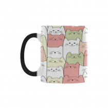 InterestPrint Kitchen & Dining Seamless Doodle Cartoon Cat Morphing Mug Heat Sensitive Color Changing Mug Ceramic Coffee Mug Cup White 11 oz Cute Pink Green White Cat